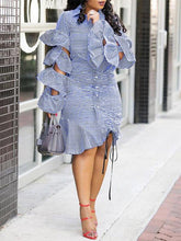 Load image into Gallery viewer, Tiered Ruffle Drawstring Stripe Dress (1519534899245)