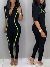Load image into Gallery viewer, Zip-Front Stripe Jumpsuit