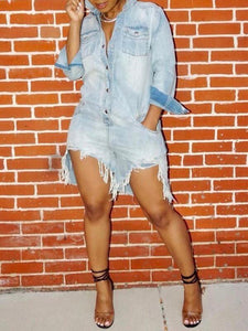 Destroyed Denim Romper