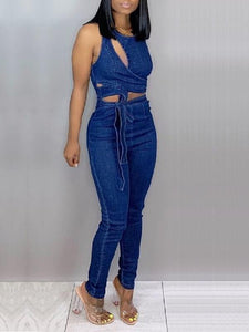 Asymmetric Sleeveless Denim Jumpsuit
