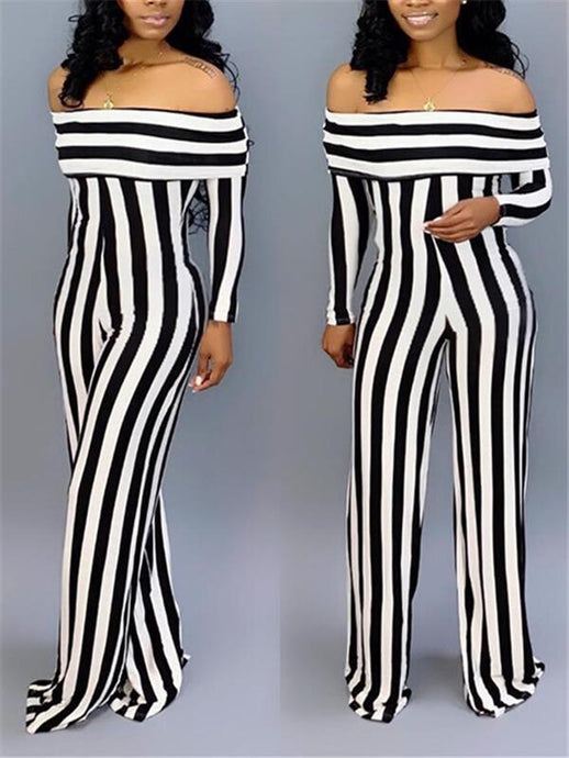 Stripe Off-Shoulder Jumpsuit