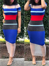 Load image into Gallery viewer, Sheer Combo Ribbed Dress