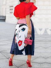 Load image into Gallery viewer, Red lip Pleated Skirt
