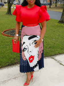 Red lip Pleated Skirt