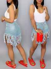 Load image into Gallery viewer, Denim Fringe Shorts