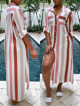 Load image into Gallery viewer, Stripe Maxi Shirt Dress