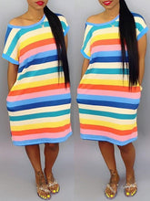 Load image into Gallery viewer, Rainbow Stripe Tee Dress