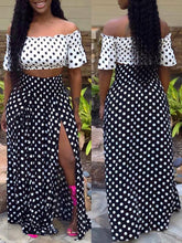 Load image into Gallery viewer, Polka Dot Top & Slit Skirts Set