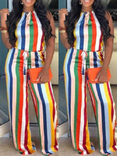 Load image into Gallery viewer, Rainbow Stripe Halter Jumpsuit