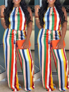 Rainbow Stripe Halter Jumpsuit