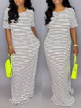 Load image into Gallery viewer, Stripe Short-Sleeve Maxi Dress