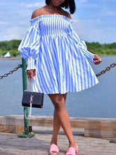 Load image into Gallery viewer, Stripe Off Shoulder Tent Dress