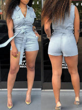 Load image into Gallery viewer, Sleeveless Denim Romper