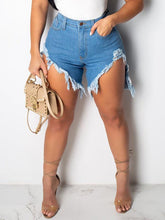 Load image into Gallery viewer, Denim Distressed Slit Shorts