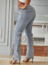 Load image into Gallery viewer, Distressed Side-Slit Jeans