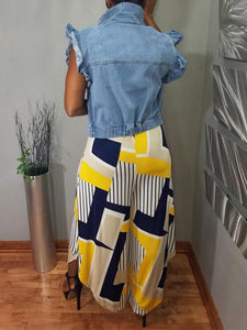Frilled Sleeveless Denim Jacket