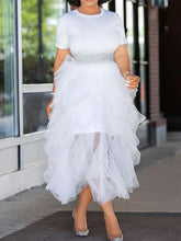 Load image into Gallery viewer, White Tee Dress with Sheer Skirt Set