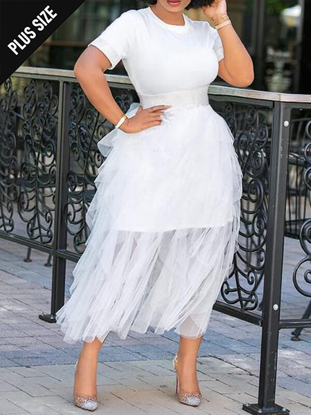 White Tee Dress with Sheer Skirt Set