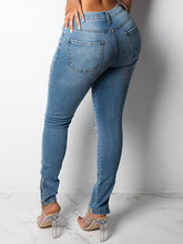 Load image into Gallery viewer, Distressed Zip Cuff Skinny Jeans