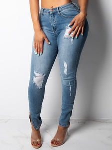 Distressed Zip Cuff Skinny Jeans
