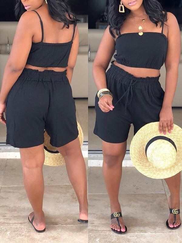 Black Cami & Shorts Set