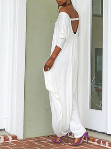 White Cutout Slouchy Jumpsuit