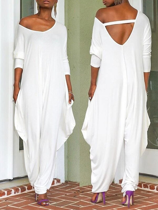 White Cutout Slouchy Jumpsuit - only white/m left