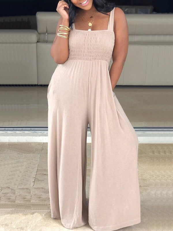 Smocked Wide Leg Jumpsuit