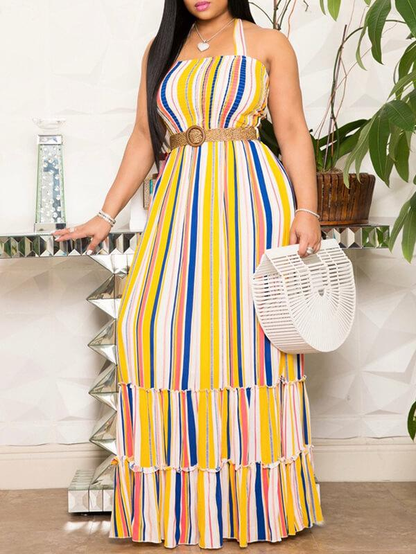 Stripe Halter Cutout Dress
