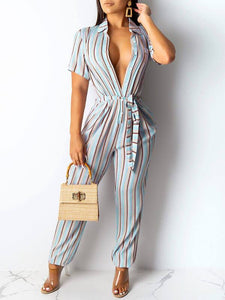 Stripe Button-Down Jumpsuit