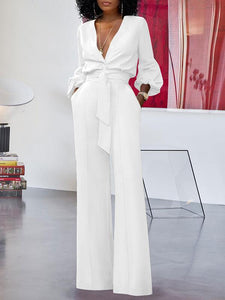 V-Neck Button-Down Jumpsuit