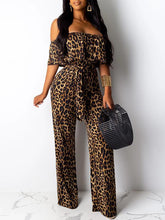 Load image into Gallery viewer, Leopard Flounce Jumpsuit