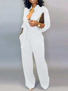 Solid Button-Down Belted Jumpsuit