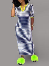 Load image into Gallery viewer, V-Neck Stripe Dress