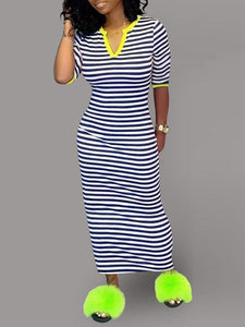 V-Neck Stripe Dress