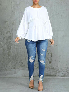 White Puff Sleeve Ruffle Top