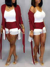 Load image into Gallery viewer, Three-Tone Cardigan & Shorts Set