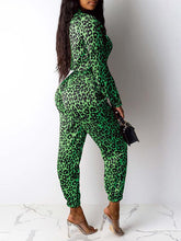 Load image into Gallery viewer, Leopard Zip-Front Jumpsuit