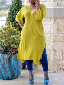 Solid Side-Slit Tunic Top