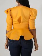 Load image into Gallery viewer, Tied-Front Peplum Blazer