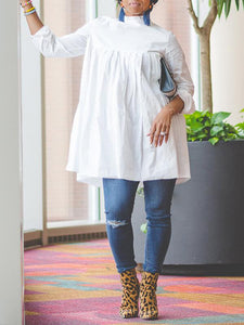 High Neck Long Sleeve Cotton Dress - clearance