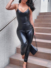Load image into Gallery viewer, Black PU Cami Jumpsuit