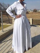 Load image into Gallery viewer, White Cinched-Waist Shirt Dress