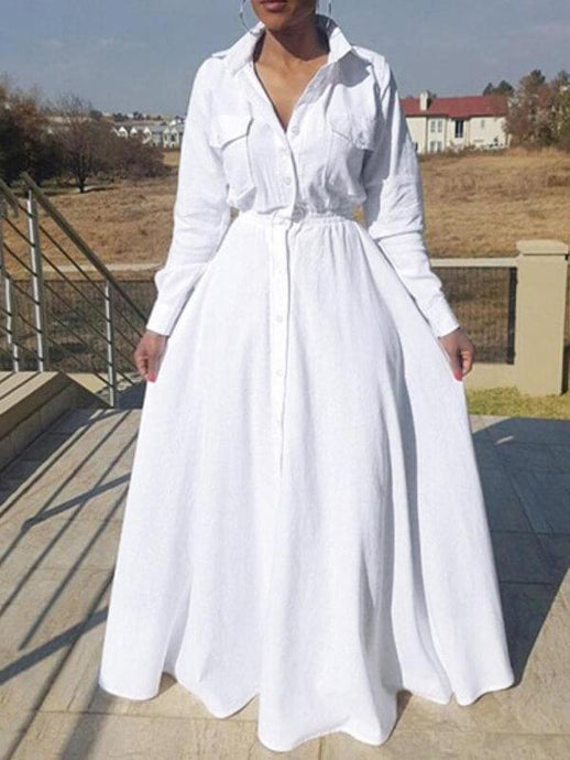 White Cinched-Waist Shirt Dress---sold out