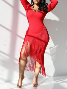 Fringe Combo Asymmetric Dress