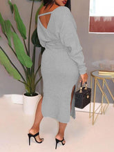 Load image into Gallery viewer, Grey Cutout Surplice Dress