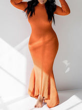 Load image into Gallery viewer, Rib-Knit Asymmetric Maxi Dress - only orange/xl left