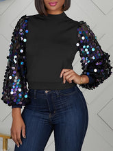 Load image into Gallery viewer, Sequin Sleeves Combo Top