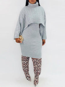 Knit Poncho & Sweater Dress Set - only Burgundy/XL left
