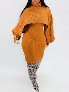 Knit Poncho & Sweater Dress Set